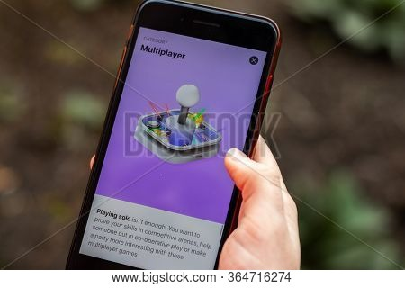 New York, Usa - 1 May 2020: Apple Store Multiplayer App Logo Close-up On Phone Screen, Illustrative