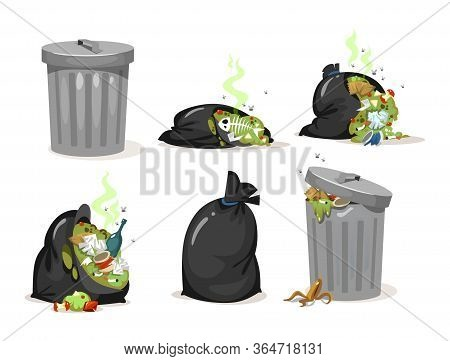 Black Trash Bags And Garbage Metal Can Set