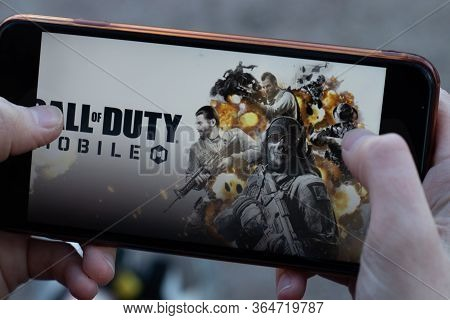 New York, Usa - 1 May 2020: Call Of Duty Mobile App Logo Close-up On Phone Screen, Illustrative Edit