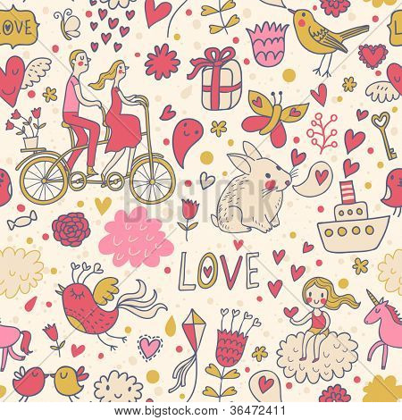 In love with world. Cartoon romantic seamless pattern in vector with a lot of funny vintage elements