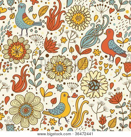 Vintage birds in retro flowers. Seamless pattern in vector