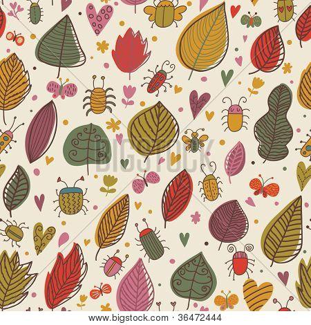 Ormanda. Ni? e böcekler ve çiçekler. Vektör çiçek seamless modeli