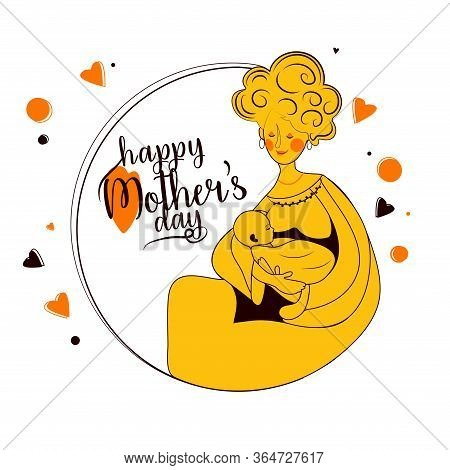 Mother's Day Line Art Design Concept In White Bg Vector,illustration Of Mother And Baby. Wish Your M