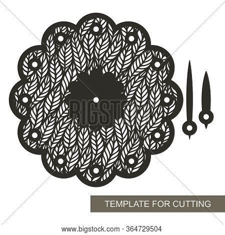 Wall Clock In The Shape Of A Flower With An Openwork Pattern Of Leaves. Vector Silhouette Of The Dia