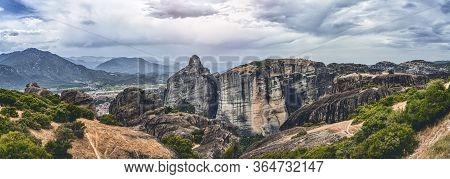 Huge Rock Formation In The Mountainous Landscape Of Meteora, Greece