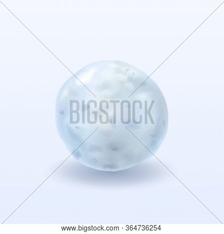 Snowball With Shadow On Isolated Light Phone.3d.realistic Element For Design. Vector Illustration.