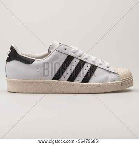Vienna, Austria - May 27, 2018: Adidas Superstar 80s White And Black Sneaker On White Background.