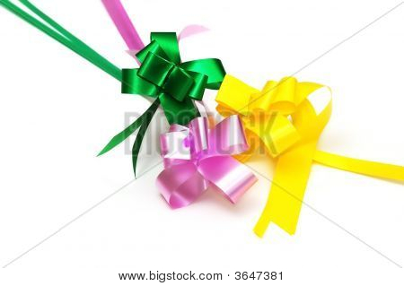 Decoration Strip Bows Isolated On White Background