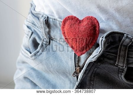 Open Zipper On Men's Jeans, Soft Red Heart Inside, The Concept Of Romantic Love, Sexual Harmony, Men