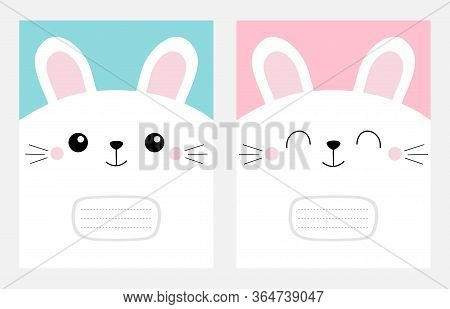 Notebook Cover Composition Book Template. White Bunny Rabbit Head Face Square Icon Set. Cute Cartoon