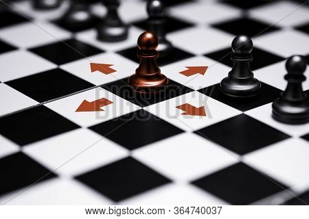 Ed Pawn Chess Stepped Out Of Line To Show Different Thinking Ideas And Leadership. Business Technolo