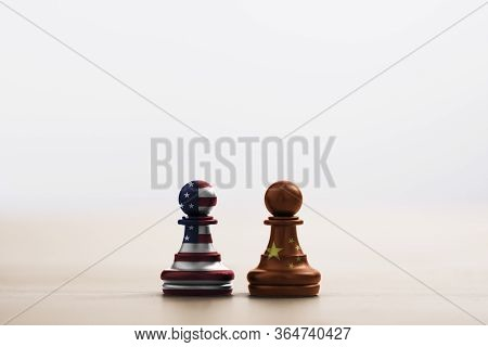 Usa Flag And China Flag Print Screen On Pawn Chess With Light Soft Background.it Is Symbol Of Tariff