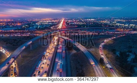 Dubai Highway In Downtown. Night Highway Traffic Image.