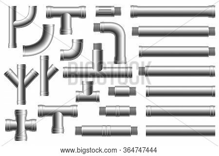 Steel Pipes, Pipeline. Set Of Pipe Elements. Different Types Collection Of Water Tube. Construction