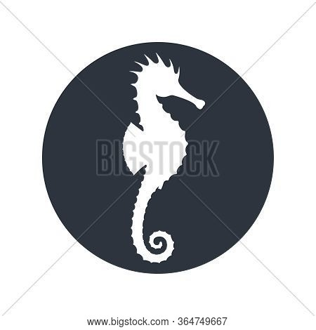Seahorse Graphic Icon. Seahorse Sign In The Circle Isolated On White Background. Sea Life Symbol. Ve
