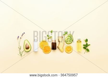 Natural Cosmetics Background With Blank Space For A Text, Fresh Healing Herbs And Other Natural Ingr