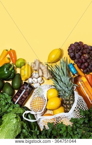 Summer Food Shopping Concept, Top-down View Of Fruits Vegetables And Wine Bottle, Healthy Ingredient