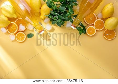 Summer Homemade Lemonade Ingredients Overhead View, Culinary Background With Copy Space For A Text