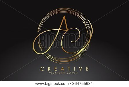 Handwritten Golden Ac A C Letters Logo With A Minimalist Design. Ac A C Sign With Golden Circular Ci