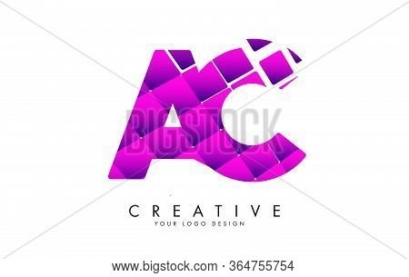 Letters Ac A C Design With Pink Shattered Blocks. Ac Icon With Pattern. Creative Vector Illustration