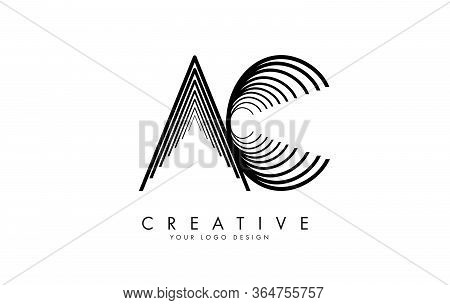 Infinity Motion Solution Ac A C Letters Logo Design. Simple Ac Icon With Made Of Lines. Creative Sta