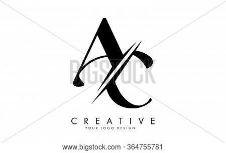 Handwritten Ac A C Letters With Creative Cut. Vector Illustration With Letters A And C.