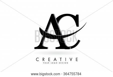 Ac A C Letters Logo With Black Swoosh. Vector Illustration With Letters A And C.