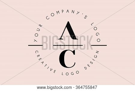 Letters Ac A C Logo Set As A Stamp Or Personal Signature. Simple Ab Icon With Circular Name Pattern.