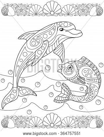 Page For Sea Book - Coloring Books With Dolphin, Fish, Waves And Bulbs - Stock Illustration. Vector