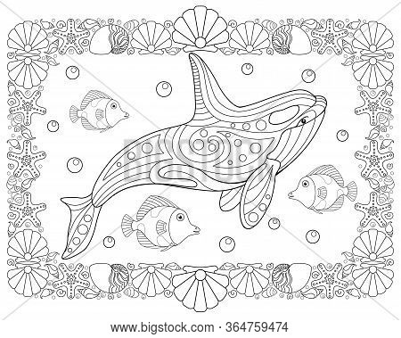 Inhabitants Of The Ocean - Horizontal Vector Coloring Antistress With A Frame Of Shells And Starfish