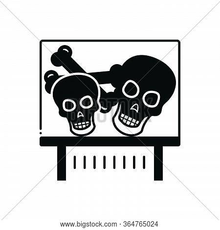 Black Solid Icon For Bones Exhibit  Skull-ossicle  Demonstrate Skull