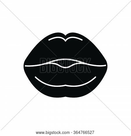 Black Solid Icon For Kissing Lip Osculate Sensuality Mouth Lipstick