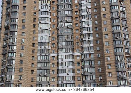 Kyiv / Ukraine. 09 March 2019:  Windows Of Neighbors In House Opposite. View Of Multistory Modern Bl