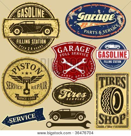 Vintage automotive labels and signs set.