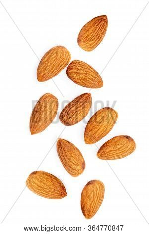 Flying Almond Nuts  Isolated  On White Background. Raw Almonds Collection. Top View. Flat Lay