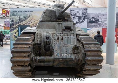 Bovington.dorset.united Kingdom.february 9th 2020.a Renault Char B1 Heavy Tank Is On Display At The