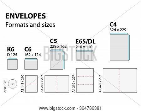 Vector Illustration Of Envelopes Formats And Sizes Set