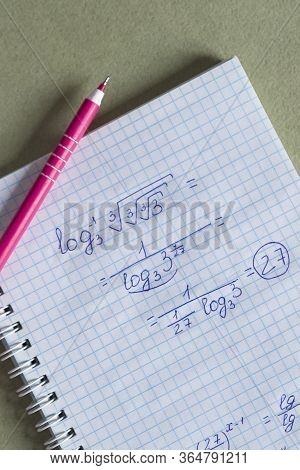 Homeschool. Maths Concept. Notepad With Math Formulas. Study Mathematics In Quarantine During Corona