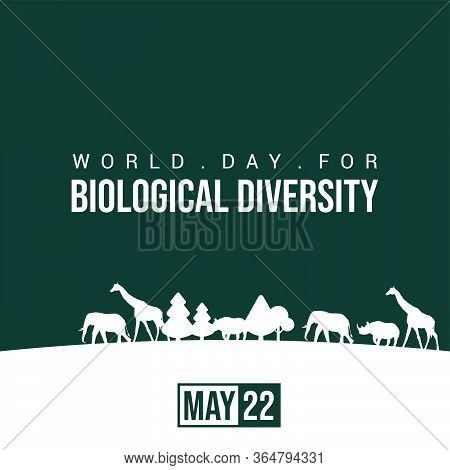 World Day For Biological Diversity. Silhouette Wildlife Design. Wild Animal Life In The Forest Silho