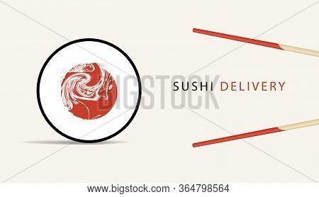 Vector Banner On The Theme Of Sushi Delivery. Advertising For Sushi Bar With An Online Ordering Opti