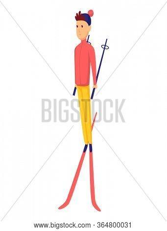 men skier. Male skiing design element isolated on white background. Winter sportsman on ski resort. Winter sport activity. Skier stands on crossed skis
