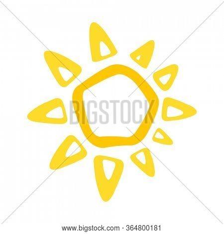 Cute funny sun icon. Bright and beautiful cartoon character. Abstract yellow sun shape. Hand drawn doodle sun. Sun logo icon.  Illustration