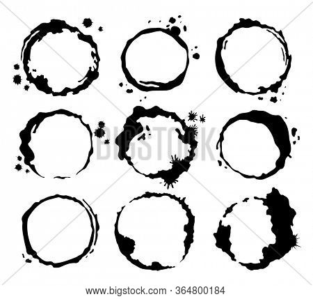 Coffee black stains. Dirty cup splash ring stain or coffee stamp, dirt watercolor latte or tea spots. Coffee ring stain for card, logo, list, menu