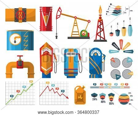 Infographic petroleum elements. Process of oil production and petroleum refining. Oil rig. Fuel. Gasoline pump retro design. Oil or fuel pipe fittings. Canister of gasoline