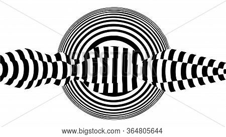 Abstract 3D Black And White Illusions. Optical Illusion Lines Background. Horizontal Lines Stripes P