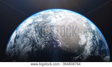 3d Rendering Of A View Of The Planet Earth From Space. On The Surface Of The Planet Are Visible Clou