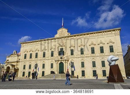 Valletta, Malta, Feb 28 2020. Malta Valletta Castille Palace In A Sunny Day.