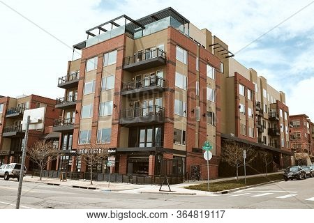 Denver, Colorado - May 1st, 2020:  Commercial Businesses And Modern Condominium Developments In The