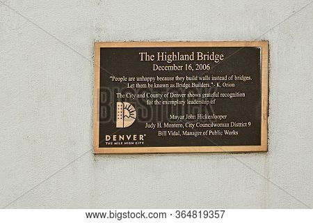 Denver, Colorado - May 1st, 2020:  Highland Bridge, A Pedestrian Bridge Connecting The Lohi Neighbor
