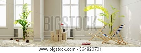 Vacation mood at home with beach and deck chairs in old building at home (3D Rendering)